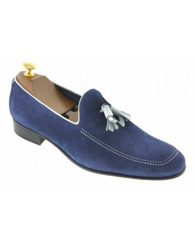 Moccasin with Pompons slippers sleepers Center 51 King blue navy suede with white tassels