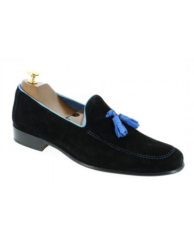 Mocassin a pompons slippers sleepers Center 51 king daim noir pompons bleu