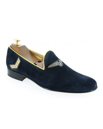 Moccasin embroidered slippers sleepers Center 51 Generals blue navy suede