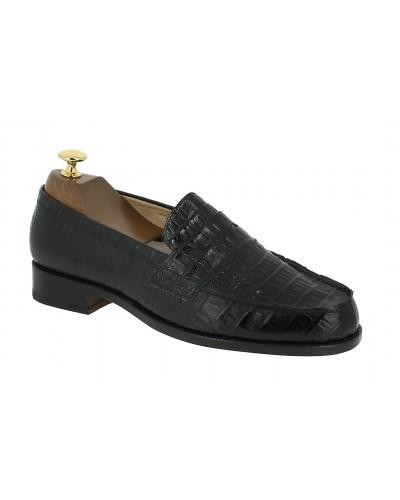 Mocassin Johann 1961 cuir façon crocodile noir