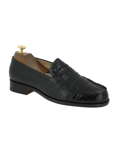 Moccasin Johann 1961 black leather crocodile print finish