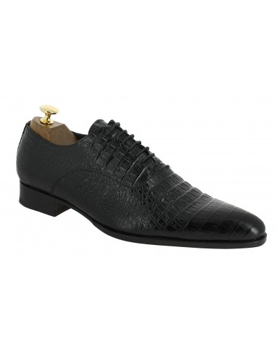 Oxford shoe Baxton  6232 black leather crocodile print finish