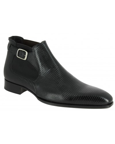 Boot Baxton 10410 black leather lizard print finish
