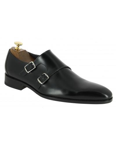Chaussure à double boucles Baxton 10454 cuir noir