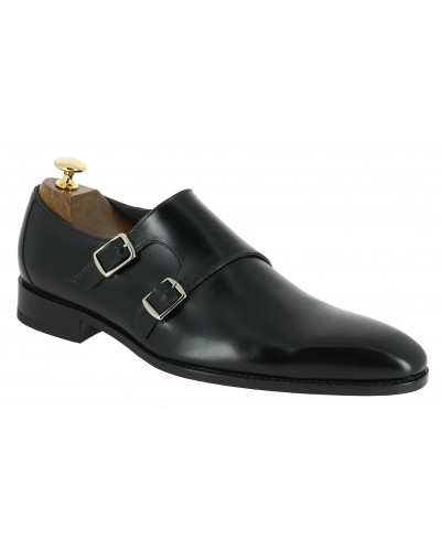 Double Monk strap shoe Baxton 10454 black leather
