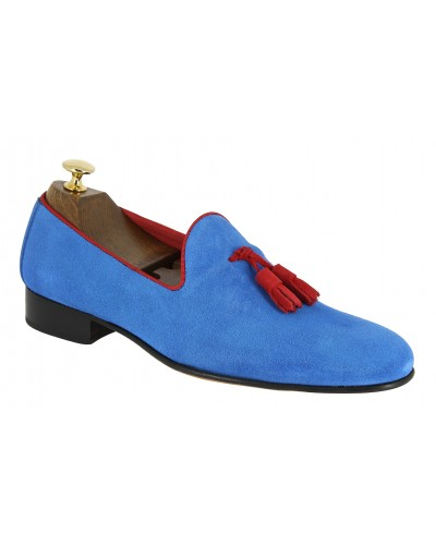 Mocassin a pompons slippers sleepers Center 51 prince daim bleu azul pompons rouge