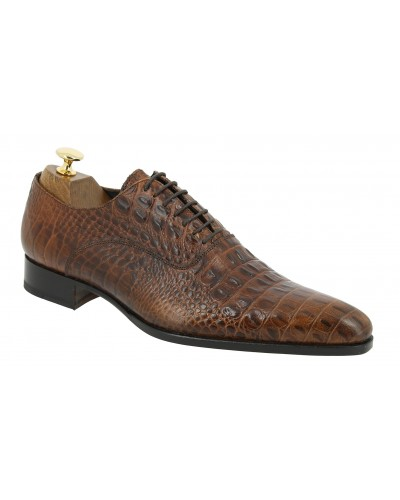Oxford shoe Baxton  6232 brown leather crocodile print finish