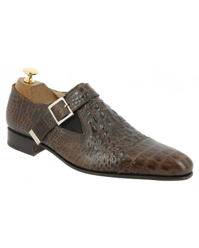 Monk strap shoe Baxton 10050 brown leather crocodile print finish