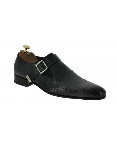 Chaussure à boucle Baxton 10050 cuir façon lézard noir