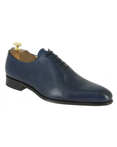Oxford shoe Baxton  10997 Rich blue navy perforated pattern leather