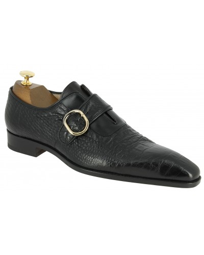 Monk strap shoe Baxton 11165 black leather crocodile print finish