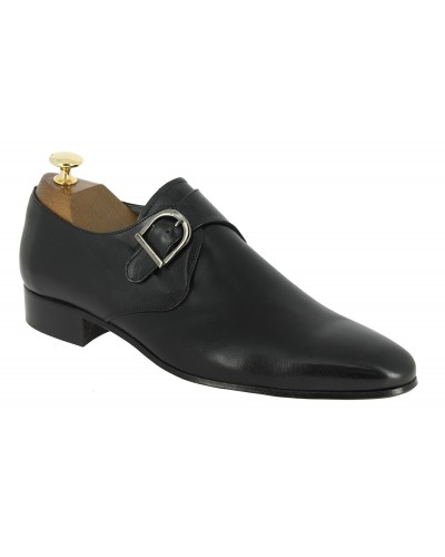 Monk strap shoe New Italianissimo boucle black leather