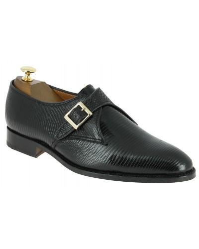 Chaussure à boucle John Mendson 11168 véritable lézard noir