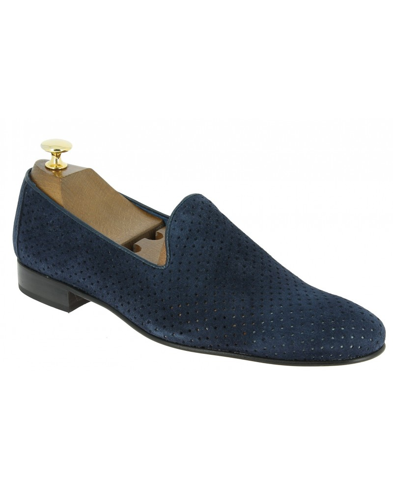 Moccasin slippers sleepers Center 51 The Hole blue navy suede
