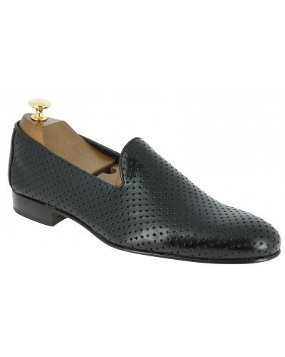 Mocassin slippers sleepers Center 51 the hole cuir noir