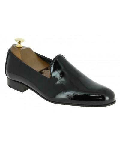 Moccasin slippers sleepers Center 51 Duke black varnished leather