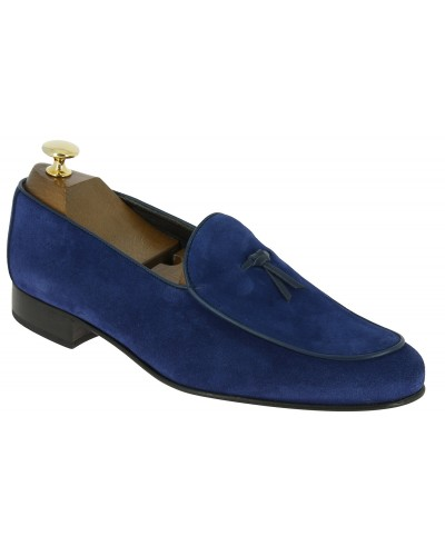 Moccasin slippers sleepers Center 51 Bordon blue navy suede