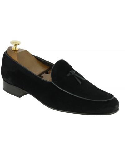 Mocassin slippers sleepers Center 51 bordon daim noir