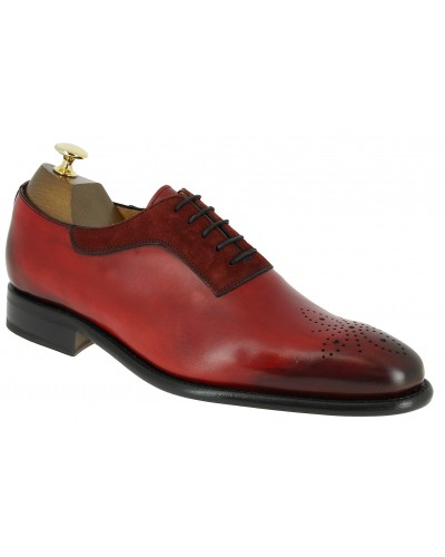 Richelieu Berwick 4248  bi-matière cuir et daim rouge