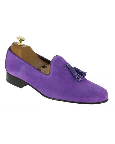 Mocassin a pompons slippers sleepers Center 51 prince daim mauve pompons vernis mauve