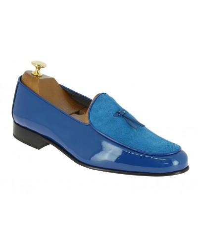 Mocassin slippers sleepers Center 51 bimat bi-matière cuir et daim bleu