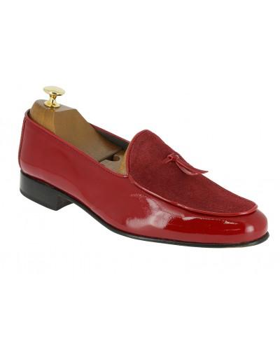 Mocassin slippers sleepers Center 51 bimat bi-matière cuir et daim rouge