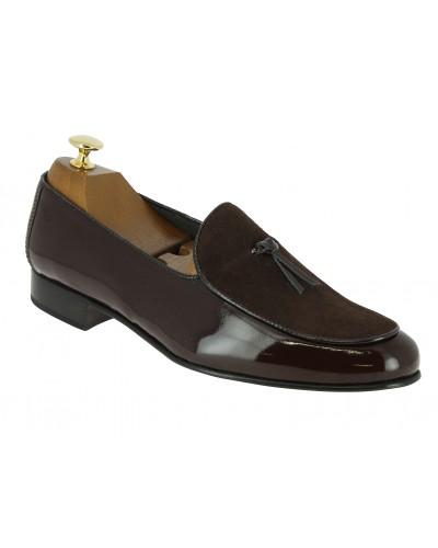 Mocassin slippers sleepers Center 51 bimat bi-matière cuir et daim marron