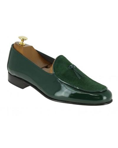 Mocassin slippers sleepers Center 51 bimat bi-matière cuir et daim vert