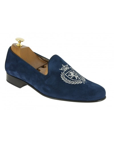 Moccasin embroidered slippers sleepers Center 51 crown blue navy suede