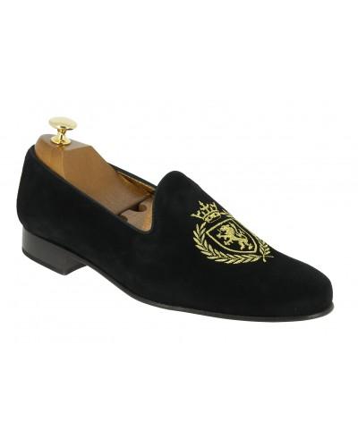 Mocassin brodé slippers sleepers Center 51 crown daim noir