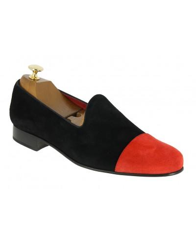 Mocassin slippers sleepers Center 51 finger daim noir avec bout daim rouge