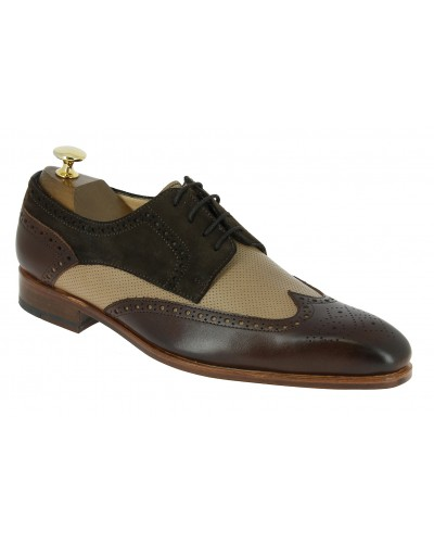 Derbie Baxton 11899 multi-material beige perforated pattern leather brown leather and dark brown suede