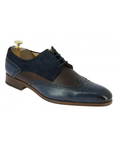 Derbie Baxton 11899 multi-material brown perforated pattern leather blue navy leather and blue navy suede