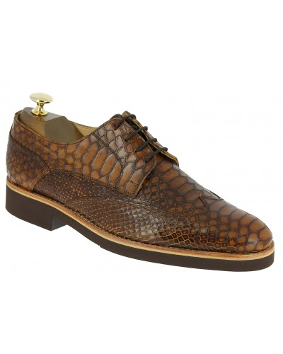 Derby shoe Baxton 11956 brown leather python print finish