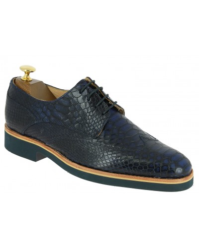 Derby shoe Baxton 11956 dark blue navy leather python print finish