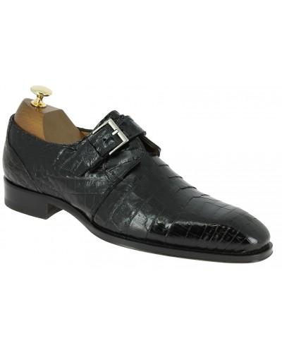 Chaussure à boucle Mezlan 4312 véritable crocodile noir