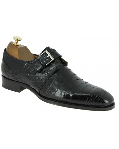 Monk strap shoe Mezlan 4312 genuine black crocodile