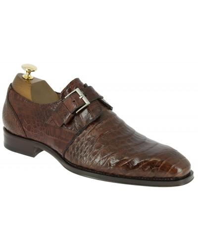 Chaussure à boucle Mezlan 4312 véritable crocodile cognac