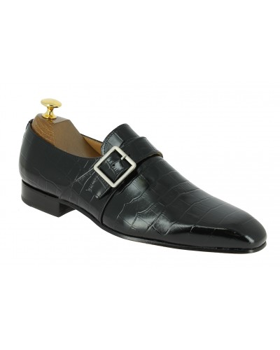 Monk strap shoe Center 51 Classico 6380 black leather crocodile print finish