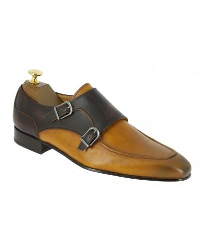 Chaussure à double boucles Center 51 classico 21052 cuir bicolore marron et blond