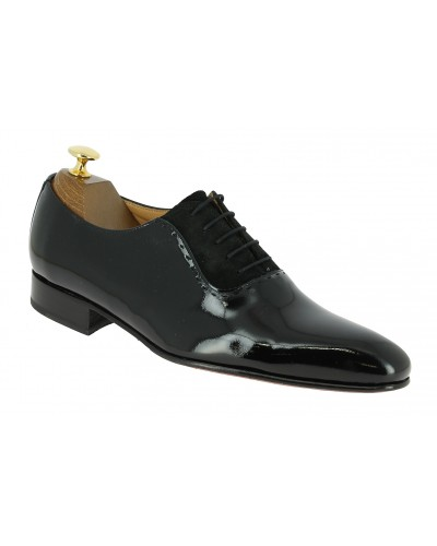 Richelieu Center 51 classico 5707 cuir vernis noir et daim noir