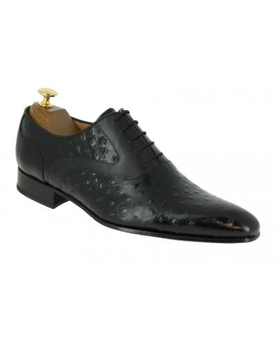 Oxford shoe Center 51 Classico 6102 black leather ostrich print finish