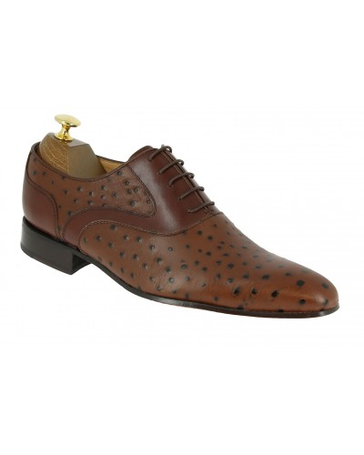 Oxford shoe Center 51 Classico 6102 brown leather ostrich print finish