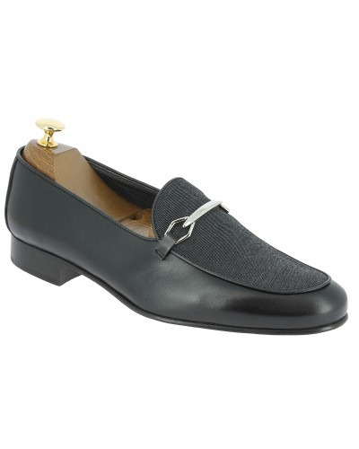 Moccasin slippers sleepers Center 51 cyclope black leather