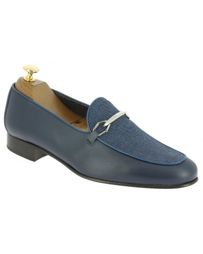 Moccasin slippers sleepers Center 51 cyclope navy blue leather