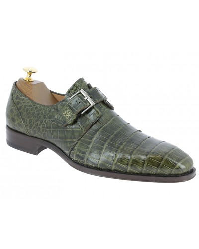 Monk strap shoe Mezlan 4312 genuine green crocodile