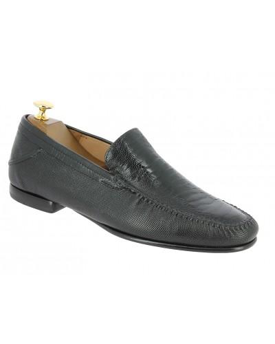 Moccasin Mezlan 7207 genuine black ostrich leg