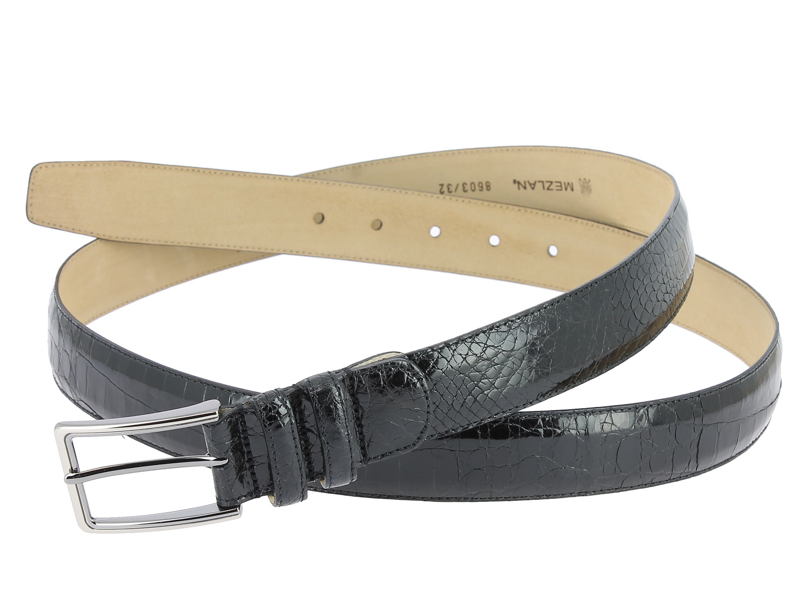Ceinture Mezlan en véritable crocodile noir - Center 51 598d89c71fb