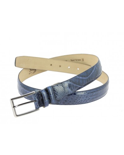 Mezlan genuine navy blue crocodile leather belt