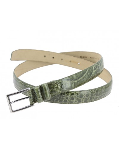 Mezlan genuine olive green crocodile leather belt